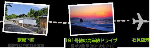 2日目。萩城下町、191号線の海岸線ドライブ、石見空港到着