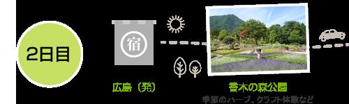 2日目。広島市内を出発、香木の森公園