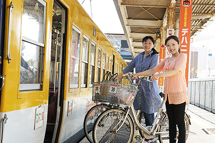 自転車と一緒に一畑電車へ乗車