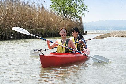 道の駅 秋鹿なぎさ公園でカヌー体験