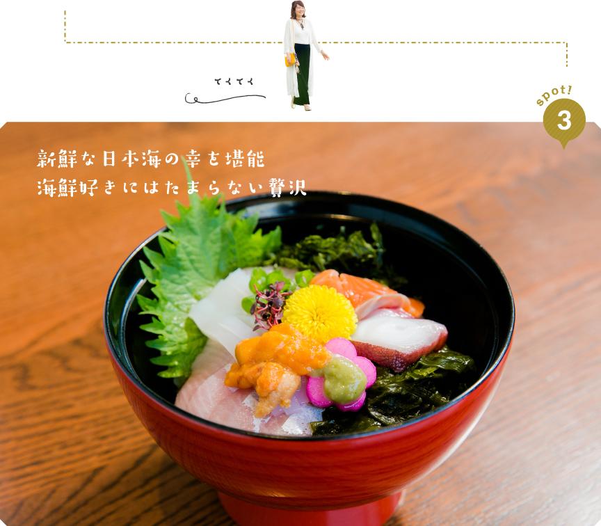 spot!3「新鮮な日本海の幸を堪能。海鮮好きにはたまわらない贅沢」