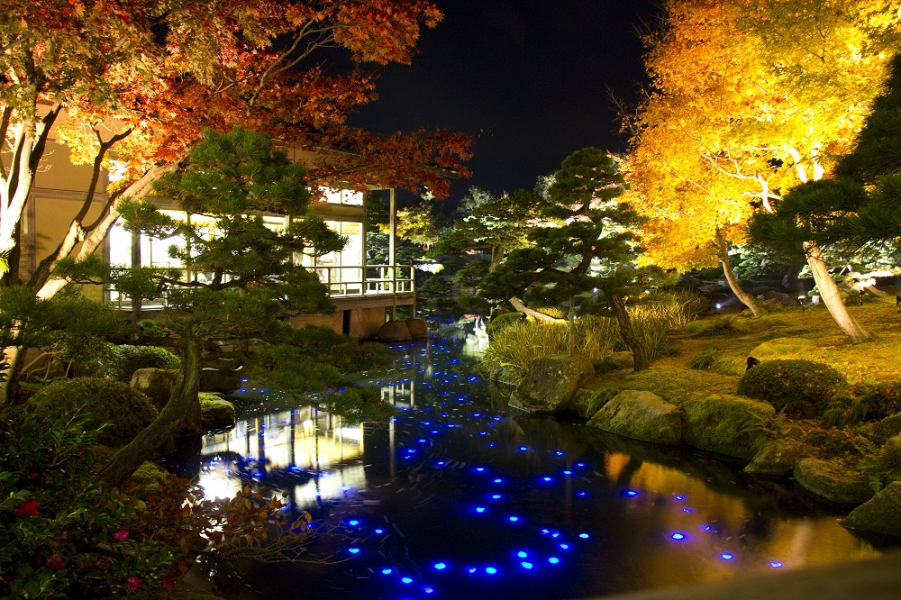 Japanese Garden At Night yuushien garden | shimane