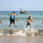 The blue sky and the blue sea,beach fun in Shimane