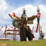 Traditional shinto ritual conducted on the top of the mountain