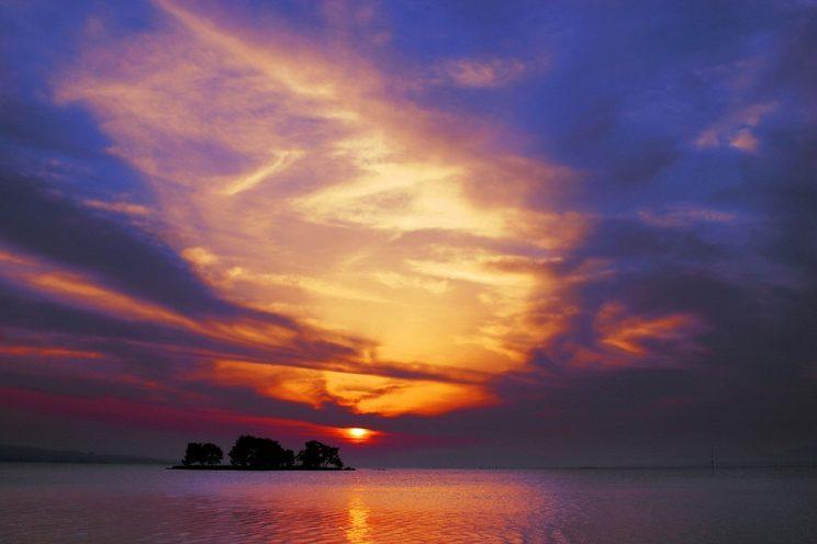 Coucher de soleil sur le lac Shinji